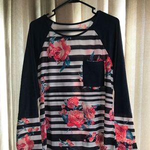 Tops - Long sleeve Stripe and Floral Shirt Size Large